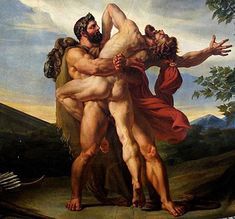 Mercurial, Jupiterian, the fight between Hercules and Antaeus; The Earth by Louis-Charles-Auguste Couder (1789-1873), a French Romantic Painter, who studied with Jean-Baptiste Regnault and Jacques-Louis David, to join the Académie...