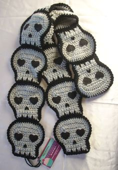 Gray Skull SCARF crochet Made To Order by KellyzKreationz on Etsy, $46.00