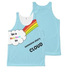 Cute Rainbow Quote blue all over print tank top