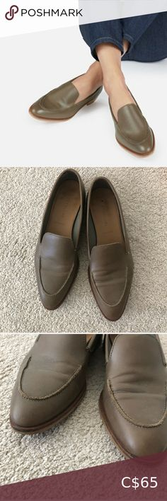 """Everlane modern loafer Very good used condition. 100% Italian leather upper. Olive green colour. Worn only a few times, they just aren't right for my job. The leather has some minor creases and there is a small scuff on the toe (last pic) - price reflects this. I am a very true 7, and these are a 7.5 but I've listed as 7 because they run a bit small, for comfort I would suggest a half size up. """"The hand-polished leather is half chrome-tanned and half vegetable-tanned, so it's super soft but… Black Leather Mules, Leather Flats, Penny Loafers, Loafers Men, Everlane Shoes, Slingback Flats, Ankle Strap Heels, Western Boots, Italian Leather"""