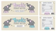 """Trunk's Peanut Butter"" is a fictional brand created by Brianna Butterbaugh (Digital Arts & Design, 2012 graduate) as part of the Color Theory course. According to Brianna, Trunk's was ""designed to appeal to smaller children with its childlike imagery and baby elephants. It's a clean and simple design with a minimal color palette."""