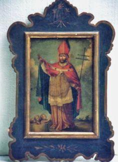 """Retablo """"San Nicolás, obispo de Mira"""" colonial venezolano, siglo XVIII, oleo/tabla."""