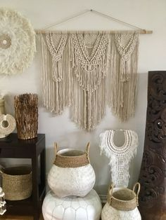 Boho Luxe MacrameWall Hanging This stunning individual piecewill make a statement in any room Measures Approx ( fromdowel hanger to bottom of fringe) 120cm (W) x 110cm (L) FREE SHIPPING