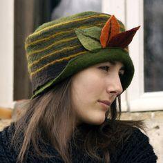 felt hat handmade in france leaves. $85.00, via Etsy.