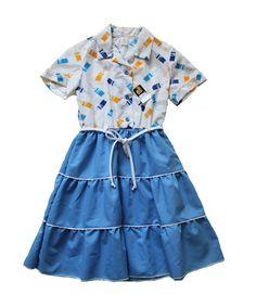 VINTAGE 70's / enfant / robe longue / motifs par Prettytidyvintage