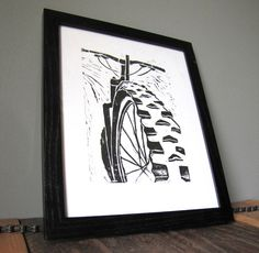 Mountain Bike Art Linocut Block Print 8x10 Black by CoffeeInBed, $18.00