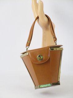 1950s Hexagonal Tan Vinyl Box Purse Handbag Small by alleycatsvintage on Etsy