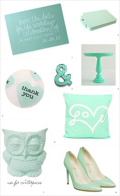 mint wedding ideas .. too many cute things