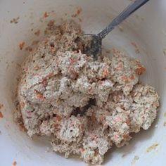Quark-Karotten-Haferflocken-Brötchen, alles zu einem Teig zusammen mischen