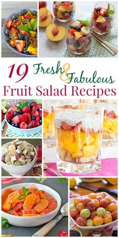 19 Fresh and Fabulous Fruit Salad Recipes - colorful combinations, delightful dressings, and even a few surprise ingredients make these mouthwatering mixtures perfect for a healthy snack or dessert, and even worthy of an elegant brunch buffet.