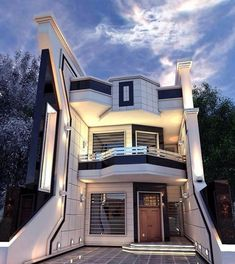 Contemporary Two Storey House Exterior Unique House Plans, Dream House Plans, Dream Houses, House Front Design, Modern House Design, Modern Houses, Mediterranean House Plans, Two Storey House, Villa Design