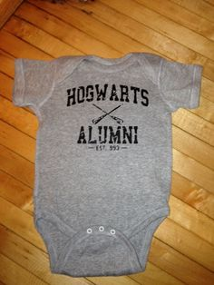 Funny Harry Potter Hogwarts Alumni Baby Onesie - Pick Your Color. Pick Your Size