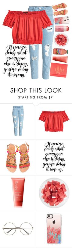 """""""If your doing what everyone else is doing, you're doing it wrong."""" by keely-in-bookland ❤ liked on Polyvore featuring H&M, Elina Linardaki, Rodial, FRUIT, tarte, Casetify and Kate Spade"""