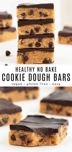 This no bake cookie dough bars recipe is vegan, healthy, gluten-free, and can easily be made keto! Its a soft and sweet layer of edible cookie dough coated in a rich chocolate glaze. Youll be craving these dessert bars once you try them! Cookies Sans Gluten, Healthy No Bake Cookies, Dessert Sans Gluten, Healthy Cookie Dough, Vegan Dessert Recipes, Vegan Sweets, Gluten Free Desserts, Healthy Baking, No Bake Desserts