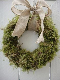 burlap wreath moss - Google Search