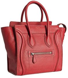 Celine red anthracite leather micro luggage shopper tote