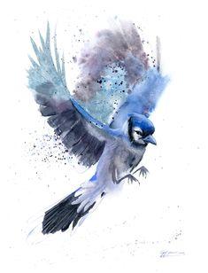 Blue Bird Art, Blue Jay Bird, Blue Art, Blue Jay Tattoo, Blue Painting, Painting Abstract, Watercolor Paintings, Bird Artwork, Bird Drawings