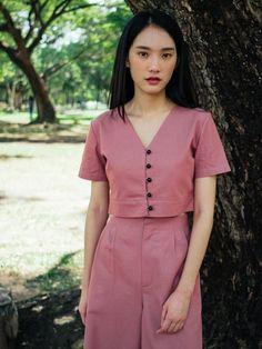 Rose Pink Cotton Linen V-Neck Button Through Front Crop Top Crop Top Designs, Blouse Designs, Traditional Dresses Designs, Myanmar Dress Design, Cotton Linen, Linen Fabric, Crop Top Outfits, Fashion Outfits, Crop Tops