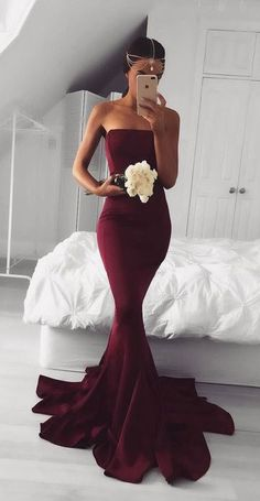 Elegant burgundy mermaid long prom dress, simple burgundy bridesmaid dress, mermaid evening dress for teens