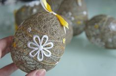 EASTER eggs Natural LINEN thread ornaments Set of 6 on Etsy, $48.15 AUD