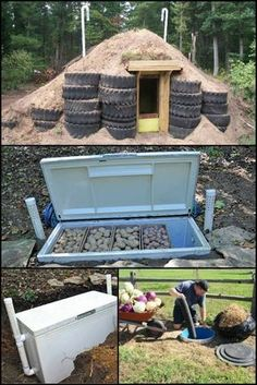 The ancient technology that enables the long term storage of your garden's bounty. Storing crops in a passively cooled root cellar is one of the most efficient methods to preserve food. There are lots of ways to build your own root cellar. Homestead Survival, Camping Survival, Survival Prepping, Survival Skills, Survival Food, Root Cellar, Survival Shelter, Off The Grid, Preserving Food