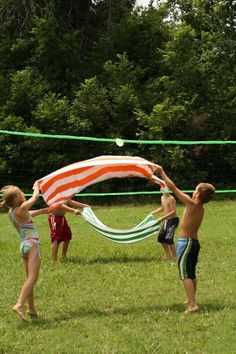 Water Balloon Volleyball. Playing volleyball with water balloons is more challenging as you can't break it, it requires better skills to play this game.