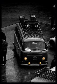 VW van with a roofrack