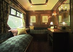 """The Royal Scotsman -   """" Just 36 guests travel through Scotland's finest countryside in private cabins, with an open-deck observation carriage behind. Life on board this luxury train is relaxed and indulgent, with gastronomic dining and the convivial atmosphere of celebrating with friends. After dinner, over a wee dram, a local clansman recounts tales that bring Scottish history alive."""""""
