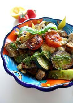 Grilled Bread Salad with Mediterranean Vegetables + Vegan BBQ Review   curlsnchard.com