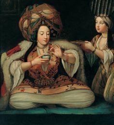 Enjoying coffee