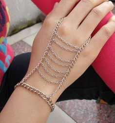 Gypsy Style antique silver chain bracelet hand harness by ZFshop