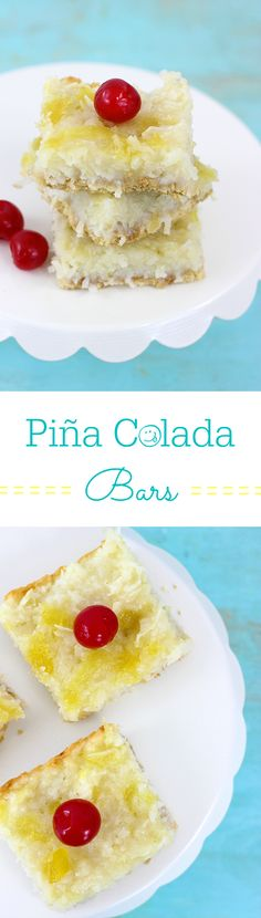 Piña Colada Bars Recipe with Pineapple and Coconut.  Best flavors of summer in one tasty bar.