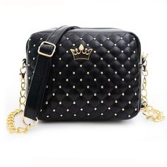 Excellent Quality Womens Bag Fashion Women Messenger Bags Rivet Chain Shoulder Bag Leather Crossbody Purse Bags