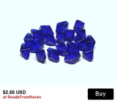 Square Bicone Glass Beads in Cobalt Blue