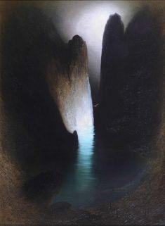 "amare-habeo: "" Karl Wilhelm Diefenbach (German, Capri's Faraglioni, N/D Oil on canvas, cm 110 x 81 "" Fantasy Places, Gold Work, Magic Art, Geometric Art, Art Day, Insta Art, Les Oeuvres, Oil On Canvas, Minimal"