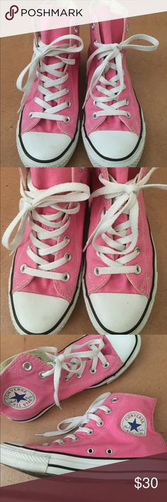 High Top Pink Converse! Excellent condition!! Worn less than 5 times, strings have some minor stains, will bleach (if wanted) before sending. Will wash shoes before sending! Open to offers :) Converse Shoes Sneakers
