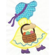 Free Easter Sunbonnet Belle Applique Machine Embroidery Design but using for quilling pattern inspiration