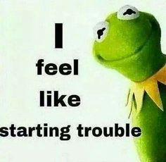 Kermit I Feel Like Trouble Starting Funny Kermit Memes, Haha Funny, Funny Jokes, Hilarious, Good Morning Images, Funny Frogs, Work Humor, Funny Signs, Just For Laughs