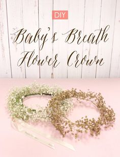 The floral crown trend isn't going anywhere fast, but a fresh new spin of this trend is quickly gaining steam. Feast your eyes on the baby's breath flor Baby Breath Flower Crown, Diy Flower Crown, Babys Breath Flowers, Diy Crown, Flower Crown Headband, Flower Crowns, Flower Bouquets, Diy Flowers, Floral Crown Wedding