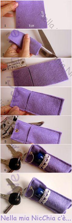 #tutorial Portachiavi in panno con contenitore | keychain in cloth DIY