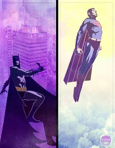 Night, Day. Batman, Superman.  ღ♥Please feel free to repin ♥ღ  www.unocollectibes.com