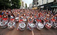 What a sight! Samba drumming band Batala perform in the Monday parade during the…