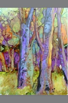 The Allentown Art Guild artist Andree Lisette Herz Love those colors ! Watercolor Trees, Watercolor Landscape, Landscape Art, Landscape Paintings, Watercolor Paintings, Watercolors, Landscapes, Alcohol Ink Painting, Alcohol Ink Art