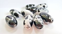 Huge Silver and Black Acrylic Beads. Oval Shaped.  36 X 20mm in Size. Very Pretty and Unique. 10 Beads per Order. by FunkyCreativeJuices on Etsy