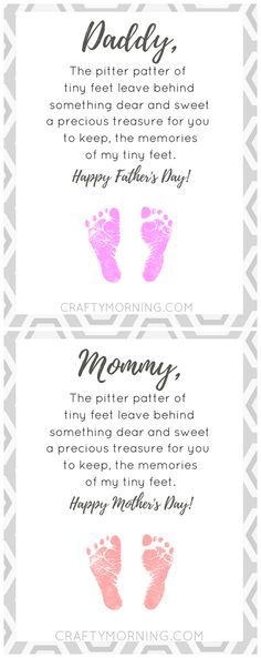 Free pitter patter of tiny feet poem printable for mom or dad (Mother's Day or Father's Day) so sweet for kids to make their footprints! mothers day gift diy ideas, fathers day gifts from kids diy, gift fathers day Daycare Crafts, Baby Crafts, Toddler Crafts, Crafts For Kids, Infant Crafts, Kids Diy, Baby Footprint Crafts, Memory Crafts, Footprint Art