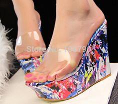 Cheap nuevo 2014 bohemia floral cuña sandalias transparentes verano zapatos de plataforma sandalias para mujer playa zapatillas de tacones altos zapatos de mujer, Compro Calidad Sandalias directamente de los surtidores de China: características:100% nuevo.color: como mostróetiqueta tamaños para la selección: 35,36,37,38,39( ue).nuevo 2014 bohemia
