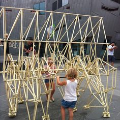 Theo Jansen's Strandbeest exhibition in Fed square. Recycled plastic, engineering creativity and a little push factor #slf2012