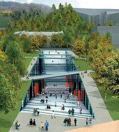 ▶ 'Ewha Campus Center', designed by Dominic Perr . - ▶ Model map of 'Campus Valley', the winner of 'Ewha Campus Center' designed b - Architecture Durable, Landscape Architecture Design, Green Architecture, Concept Architecture, Futuristic Architecture, Sustainable Architecture, Classical Architecture, Landscape Plaza, Urban Landscape