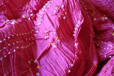 Vibrant Pink Bandhani Indian TieDyed cotton by MadamePaisleys. Perfect for a sarong or beach cover up!
