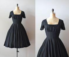 Hidden+Heart+silk+dress+/+vintage+50s+dress+/+black+by+DearGolden,+$268.00